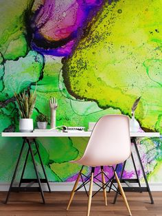 Item #6257Unique pattern design print by using the alcohol ink stain technique.Abstract Ink Splotch Pattern (LimeGreen, Yellow, Blue and Purple Color).Colorful Contemporary Art Decorative Background Pattern.Perfect addition to any home wa...