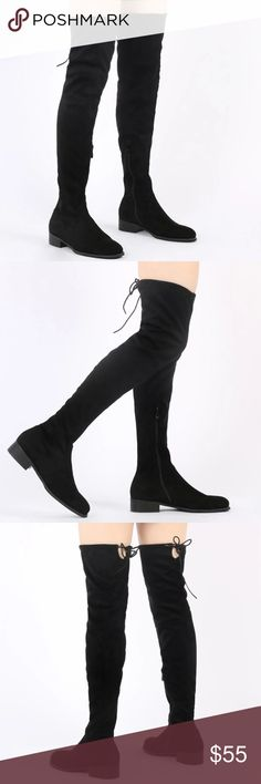 Joy Over the Knee Boots from Public Desire Over the Knee boots in Black Faux Suede. Never worn. Public Desire Shoes Over the Knee Boots