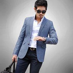 Aliexpress.com : Buy plus size xxxl xxl 2012 fashion bussiness slim fit mens blue denim suit blazer jackets koream jean suits blazers coat for men from Reliable casual men's men's suit suppliers on Jeanie Deng's store