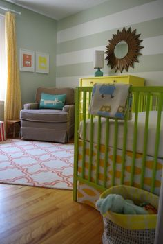 Bright furniture pairs well with a muted/neutral nursery.