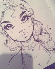 Cartoon Drawings Quick lil pen sketch before bed✨ goodnight lovelies Unique Drawings, Cool Art Drawings, Pencil Art Drawings, Cartoon Drawings, Cartoon Art, Girl Drawing Sketches, Pen Sketch, Drawing Artist, Painting & Drawing