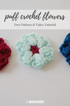 How to crochet little puff flowers. Click through for the free pattern and video tutorial! Crochet 101, Bead Crochet, Learn To Crochet, Crochet Hooks, Free Crochet, Crochet Flower Patterns, Doily Patterns, Crochet Flowers, Yarn Organization