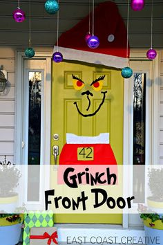 The Grinch Christmas Door! Simple DIY your kids will love! From East Coast Creative Blog