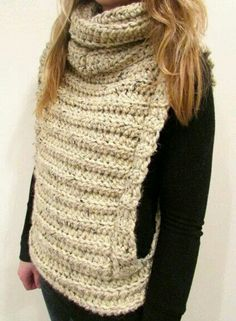 Crochet Vest with Cowl // Pattern only by MintyDesigns on Etsy Crochet Scarves, Crochet Shawl, Crochet Clothes, Diy Clothes, Knit Crochet, Knitting Patterns, Crochet Vest Pattern, Mode Crochet, Knit Patterns