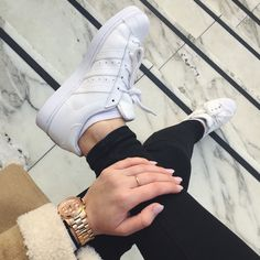 All white adidas superstars from @uoeurope