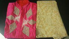Silk n satin kurti wid chanderi printed bottom