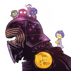"Art by Dan Hipp. Disgust is Han (his father), Anger is Darth Vader (his grandfather), Fear is Luke (his uncle), Sadness is Ben Kenobi (his namesake) and Joy is Leia (his mother). Like in ""Inside Out,"" Kylo Ren's Joy has wandered out of Headquarters — an apt metaphor considering how emotionally tortured Ben Solo is in the film. And to make matters even more heartbreaking, we see one of Kylo Ren's ""core memories,"" a happy moment with his father."