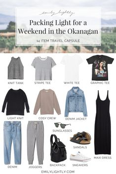 Travel Capsule - Packing Light for a Weekend in the Okanagan // Emily Lightly - capsule wardrobe minimalist style travel packing tips minimal womens fashion Weekend Packing List, Packing Tips For Travel, Quick Travel, Travel Checklist, Travel Hacks, Europe Packing, Traveling Europe, Backpacking Europe, Free Travel