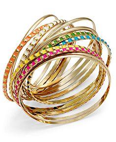 Ali Khan Bracelet Set, Gold-Tone Multi-Color Bangle Bracelets - Fashion Jewelry - Jewelry & Watches - Macy's