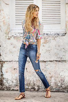 *Camisa Alha *Jean ultra skinny Broken *Pulsera Margarita *Collar Apio #indiastyle #EasyChic