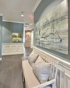 This hallway  Walls: Benjamin Moore - Sea Pines  #home #homedecor #homedesign #decor #design #interior #interiordecor #interiordesign #interiordesigner #interiordecorator #interiordecorating #instahome #instalike #instamood #instadecor #instastyle #homesweethome #beautiful #inspo #inspiration #walldecor #benjaminmoore #seapines #bench #hamptons #beachhouse #luxe #luxury #beach #follow by k.homedecor