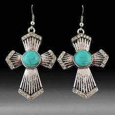 Fashion Earrings-Cross/Turquoise