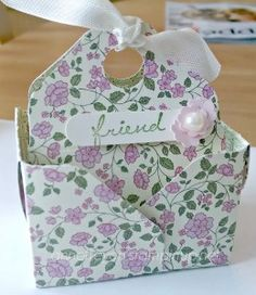 Make this adorable bag in a box mini gift with just a 6x6 piece of designer series paper and the Stampin' Up! envelope punch board!