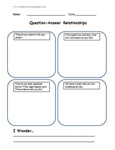 Question-Answer Relationships (QARs) in Science - an organizer