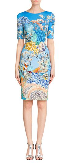 Nothing says bold attitude like a Mary Katrantzou print, and colored in searing blue with graphic, nature-inspired motifs, we love this fitted jersey dress as a statement buy #Stylebop
