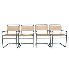 a4f22a6bea7df Set of 4 Chrome and Leather Dining Chairs C1960 F6397 Warm Dining Room