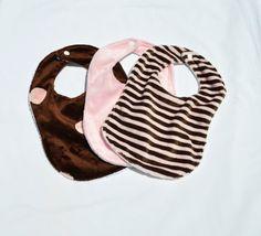 Pink and Brown Bib Set by MimisNursery on Etsy