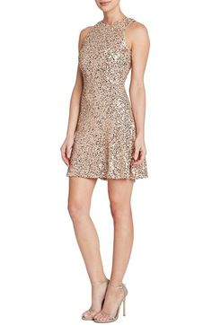 Dress the Population Dress the Population 'Mia' Sequin Cutaway Fit & Flare Dress (Nordstrom Exclusive) available at #Nordstrom