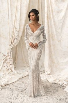 Justin Alexander Signature Geometric Pearl and Bugle Beaded Gown with Bell Sleeves