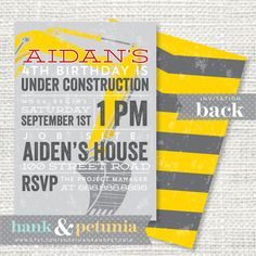 Printable Construction Birthday Party Invitation on Etsy, $15.00