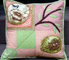 Quilted pillow Throw pillow nesting birds pinks by twistedsticks, $55.00