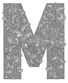 m / letters / black & white / typography