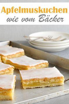 Apfelmuskuchen wie vom Bäcker, gedeckter Apfelkuchen mit selbst gekochtem Apfelmus und Puderzuckerguss, einfaches Rezept, Mürbeteig, Thermomix