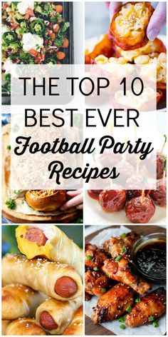 These top ten football recipes will take any party or tailgate to the next level! Top Ten Football Party Recipes is a collection of the best tailgate recipes and party snacks to help you plan the ultimate football party! Easy Party Food, Snacks Für Party, Appetizers For Party, Tailgate Appetizers, Fun Food, Super Bowl Appetizers, Cheap Party Food, Parties Food, Yummy Food