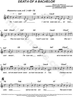 Print and download lead sheets for Death of a Bachelor by Panic! At The Disco Includes complete lyrics in C Major. Saxophone Sheet Music, Easy Piano Sheet Music, Violin Music, Music Sheets, Cello, Ukulele Songs, Piano Songs, Panic At The Disco Lyrics, Trumpet Sheet Music