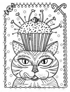 Adult Cat Cup Cake By Deborah Muller Coloring Pages Printable And Book To Print For Free Find More Online Kids Adults Of