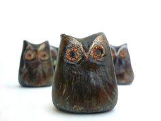 2 Brown and Copper Rustic Owls  Decoration  Home decor  by oenopia, $22.00