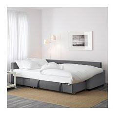 IKEA - FRIHETEN, Convertible d'angle, Skiftebo gris foncé,  , , La méridienne peut se placer à droite ou à gauche du canapé ; déplacez-la à votre convenance.Espace de rangement sous la méridienne. Le couvercle peut rester en position ouverte, ce qui permet de prendre des affaires facilement.Se transforme en lit en un tour de main.A la fois canapé, méridienne et lit pour deux.