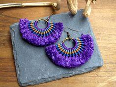 Macrame earrings African Tribal Hippie boho earrings by BySinuhe