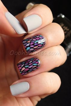 Catrice Pebble Beach with Dance Legend Top Satin, accentnails of A England Camelot with Konad Black and UberChic Beauty plate UC4-02, with China Glaze LOL, DV8, BFF, QT, IDK and TTYL