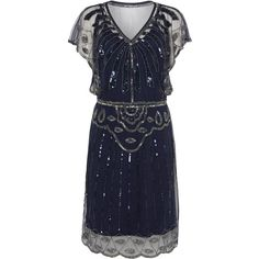 UK12 US8 AUS12 Navy Blue Vintage inspired 1920s Flapper Great Gatsby Beaded Charleston Sequin Art Deco Downton Abbey Mod Dress New Hand Made