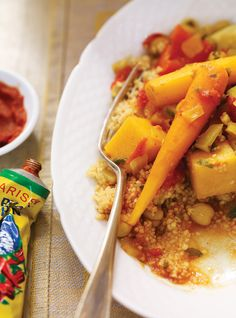 Ricardo& recipe : Slow Cooker Couscous with Vegetables and Chickpeas Couscous Recipes, Chickpea Recipes, Veg Recipes, Slow Cooker Recipes, Wine Recipes, Food Network Recipes, Vegetarian Recipes, Healthy Recipes, Healthy Eats