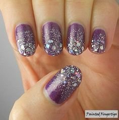 Purple Matte Nails with Silver Glitters.