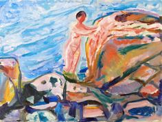 Bathing Woman by a Red Cliff-1915 by Edvard Munch