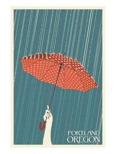 Vintage Travel Poster: Rain in Portland, Oregon (Lantern Press) Art And Illustration, Illustrations, Collage Kunst, Umbrella Art, Kunst Poster, Japan Design, Design Design, Vintage Travel Posters, Grafik Design