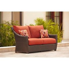 Brown Jordan Highland Patio Loveseat in Cinnabar with Empire Chili Throw Pillows -- STOCK-DY10035-LV - The Home Depot