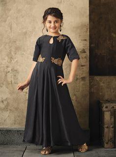 bfb221bd65 Buy This Party Wear Black Satin Khatli Work Kids Gown Online Shopping