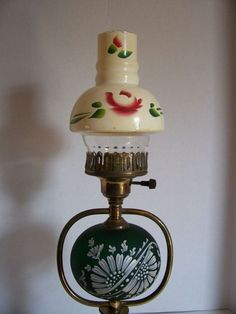 Electric Hurricane Style Table Lamp Handpainted Light with Shade Vintage