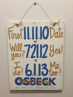 I love this sign that my mom got for me as a shower gift! I can't wait to be an Osbeck! :)  Custom HandPainted Wedding Anniversary by WhatchawantDesign, #handmade gifts #diy gifts #do it yourself gifts