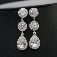 Crystal Ohrringe Hochzeit Schmuck kristallklarem von poetryjewelry