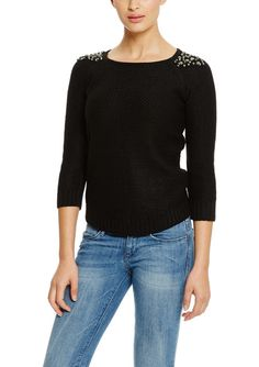 CABLE & GAUGE  Raglan Sleeve Embellished Shoulder Sweater