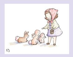 Children Art Print. All the Pretty Bunnies. PRINT by LoxlyHollow