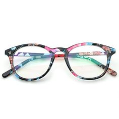 c69319226df PenSee Womens Inspired Eyeglasses Glasses Frame Round Oval Circle Clear  Lens Blue Floral Clear   Check