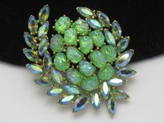 TRIFARI  Vintage Lime Green Etoile Lava Rock Rhinestone Brooch Pin #Trifari #Jewelry #Brooch Free shipping