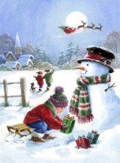 Christmas Scenery, Christmas Artwork, Christmas Paintings, Christmas Wallpaper, Christmas Pictures, Christmas Snowman, Winter Christmas, Christmas Time, Vintage Christmas Cards