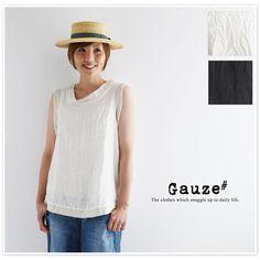 【Gauze# ガーゼ】 ノースリーブ ガーゼ プルオーバー (g099)